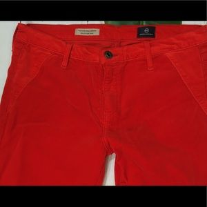 AG Jodhpurs Skinny Ankle Red Corduroy  Pants Sz 30